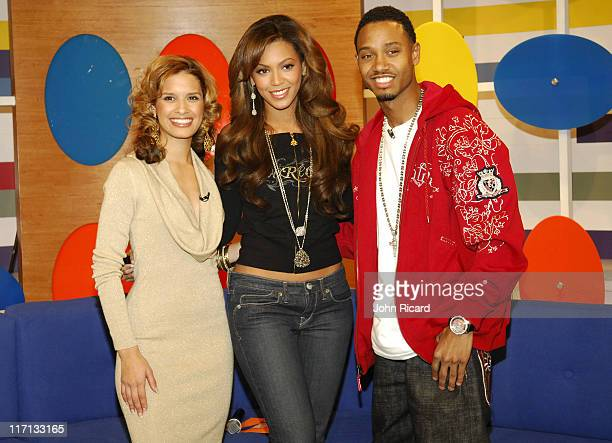 Rocsi Beyonce and Terrence J during Beyonce Knowles Visits BET's 106 Park December 4 2006 at BET Studios in New York City New York United States