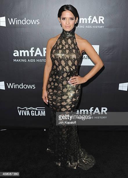 Rocsi Diaz arrives at the 2014 amfAR LA Inspiration Gala at Milk Studios on October 29 2014 in Hollywood California
