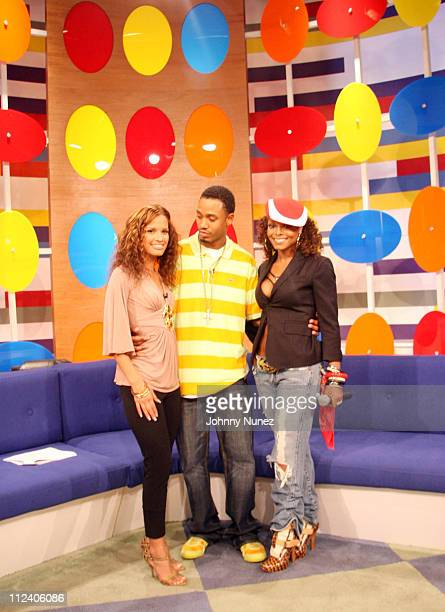 Rocsi Terrence and Janet Jackson during Janet Jackson Visits 106 and Park July 31 2006 at 106 and Park in New York City New York United States