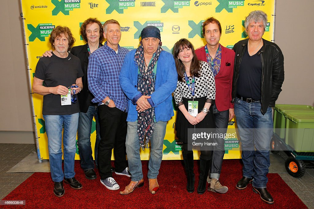 Rod Argent, Colin Blunstone, Bob Santelli, Steven Van Zandt, Holly George-Warren, Chuck Prophet, and Clem Burke attend 'The Who At 50' during the 2015 SXSW Music, Film + Interactive Festival at Austin Convention Center on March 19, 2015 in Austin, Texas.