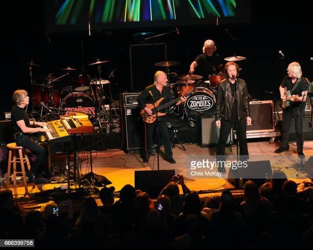 Rod Argent Jim Rodford Steve Rodford Colin Blunstone and Tom Toomey of The Zombies perform at Variety Playhouse on April 8 2017 in Atlanta Georgia