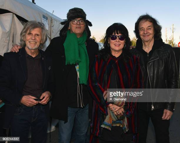 Rod Argent of The Zombies joined by Robyn Hitchcock and Ann Wilson of Heart with Colin Blunstone of The Zombies backstage during the 9th Annual 30A...