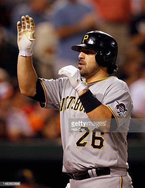 Rod Barajas of the Pittsburgh Pirates celebrates his three run home run against the Baltimore Orioles during the fifth inning at Oriole Park at...