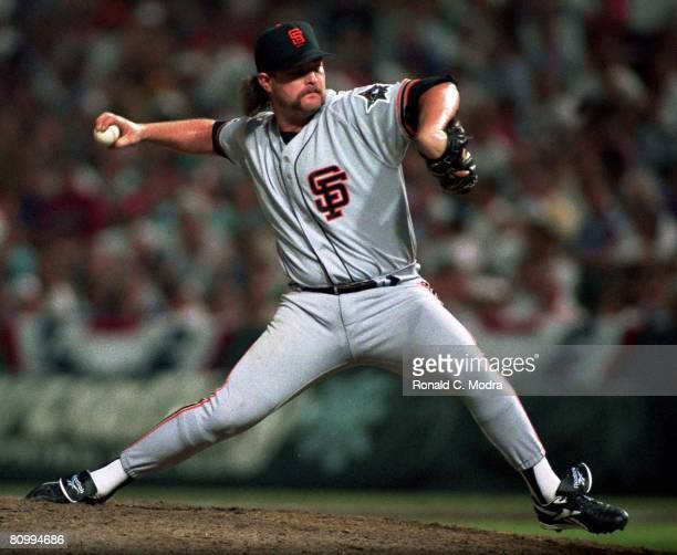 Rod Beck of the San Francisco Giants pitches for the National League during the 1993 AllStar Game against the American League on July 13 1993 in...