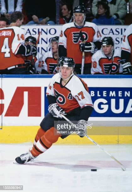 Rod Brind'Amour, Center for the Philadelphia Flyers in motion on the ice during the NHL Eastern Conference Northeast Division game against the...
