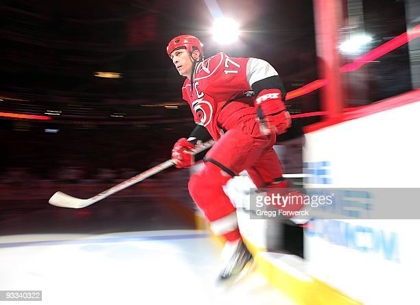 Rod Brind'Amour of the Carolina Hurricanes enters the ice during player introductions prior to a NHL game against the Tampa Bay Lightning on November...