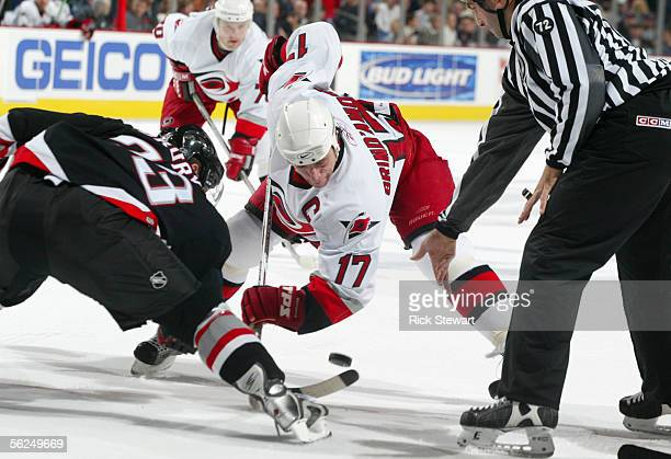 Rod Brind'Amour of the Carolina Hurricanes gets ready for the face-off during the game against the Buffalo Sabres on November 9, 2005 at HSBC Arena...