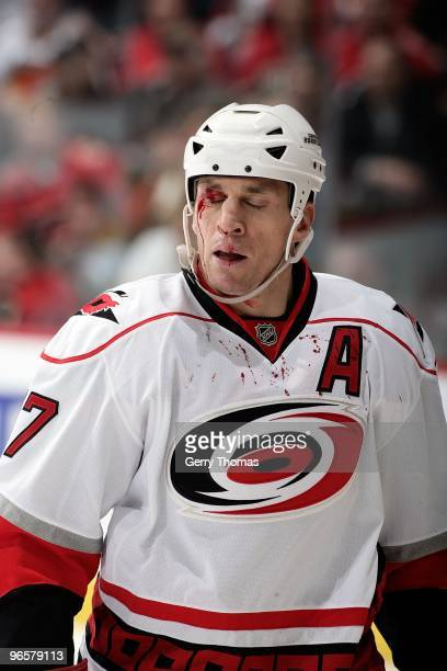 Rod Brind'Amour of the Carolina Hurricanes is bloodied after a play against the Calgary Flames on February 3, 2010 at Pengrowth Saddledome in...