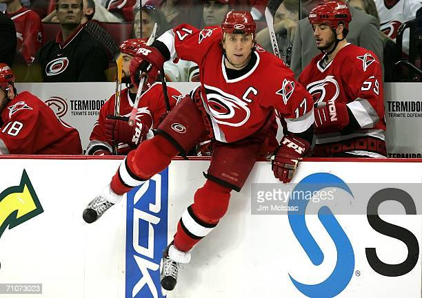 Rod Brind'Amour of the Carolina Hurricanes jumps into play in the second period against the Buffalo Sabres during game five of the Eastern Conference...