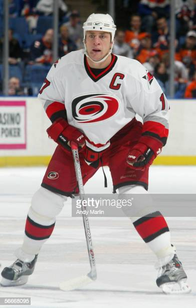 Rod Brind'Amour of the Carolina Hurricanes skates against the New York Islanders during the NHL game at the Nassau Coliseum on Januarey 7 2006 in...