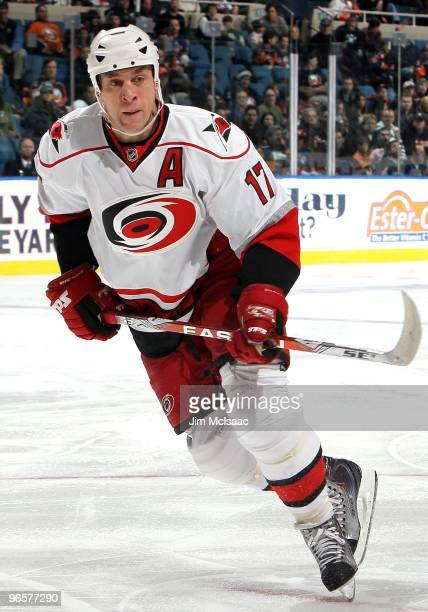 Rod Brind'Amour of the Carolina Hurricanes skates against the New York Islanders on February 6, 2010 at Nassau Coliseum in Uniondale, New York.