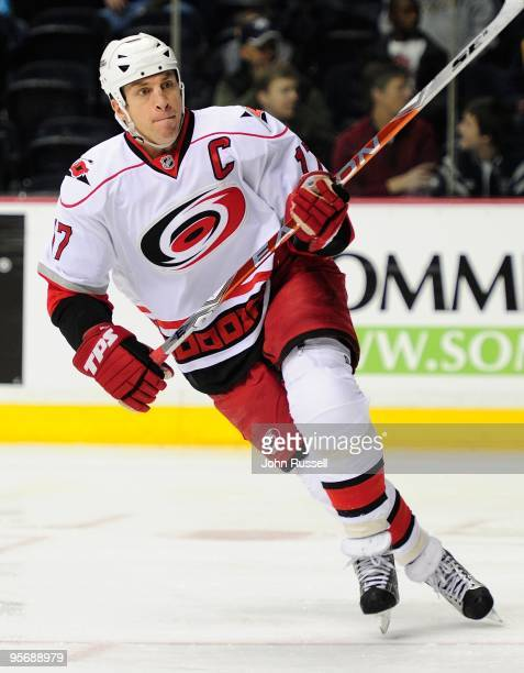 Rod Brind'Amour of the Carolina Hurricanes skates against the Nashville Predators on January 7, 2010 at the Sommet Center in Nashville, Tennessee.