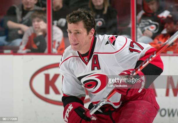 Rod Brind'Amour of the Carolina Hurricanes skates during the pregame warm-ups against the Philadelphia Flyers on January 23, 2010 at the Wachovia...