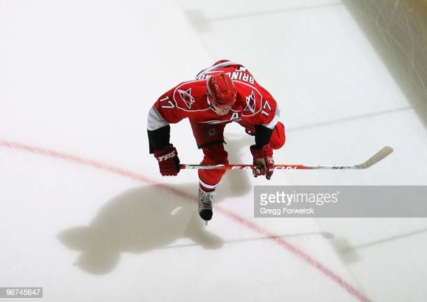 Rod Brind'Amour of the Carolina Hurricanes skates for position on the ice during a NHL game against the Florida Panthers on February 9, 2010 at RBC...