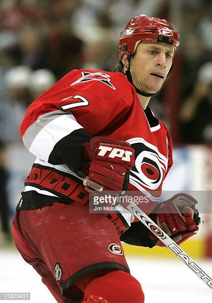 Rod Brind'Amour of the Carolina Hurricanes skates in the second period against the Buffalo Sabres during game five of the Eastern Conference Finals...