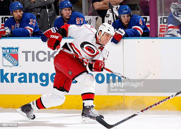 Rod Brind'Amour of the Carolina Hurricanes takes a shot against the New York Rangers in the first period on January 27, 2010 at Madison Square Garden...