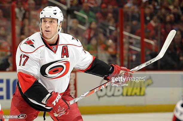 Rod Brind'Amour of the Carolina Hurricanes waits for a pass during the game against the Washington Capitals on March 10, 2010 at the Verizon Center...