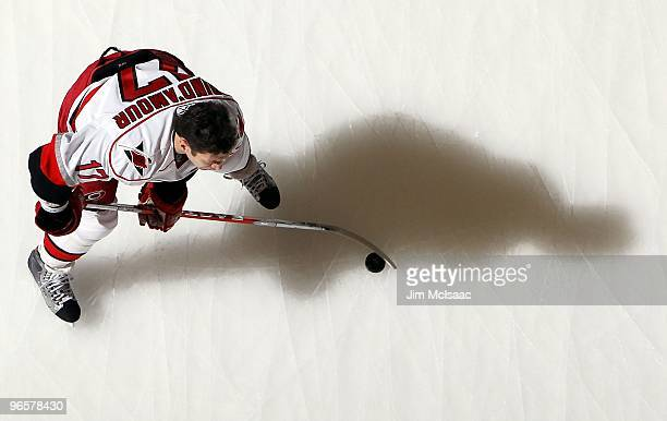 Rod Brind'Amour of the Carolina Hurricanes warms up before playing the New York Islanders on February 6, 2010 at Nassau Coliseum in Uniondale, New...