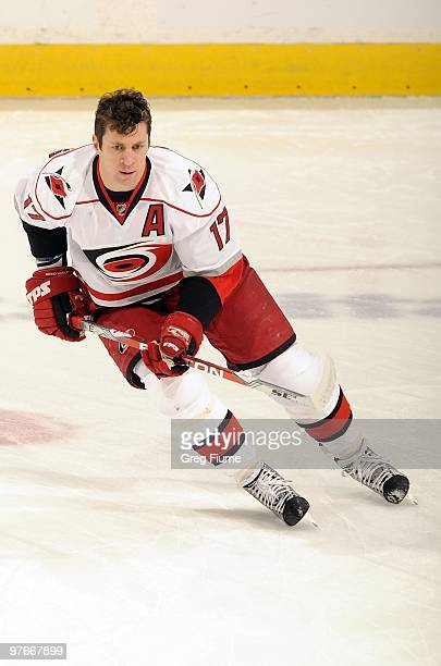 Rod Brind'Amour of the Carolina Hurricanes warms up before the game against the Washington Capitals on March 10, 2010 at the Verizon Center in...