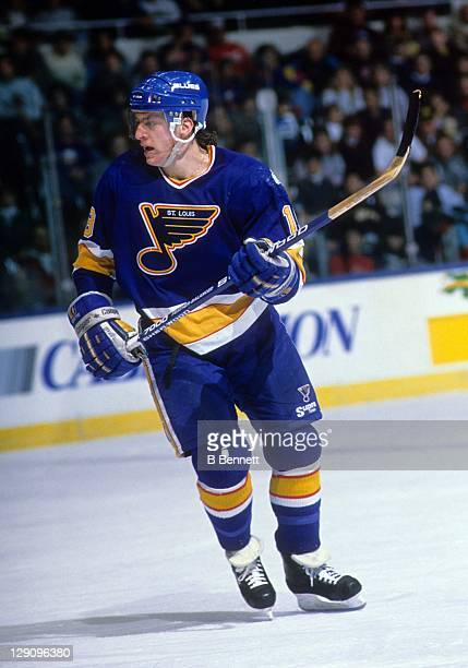 Rod Brind'Amour of the St Louis Blues skates on the ice during an NHL game against the New York Islanders on December 28 1989 at the Nassau Coliseum...