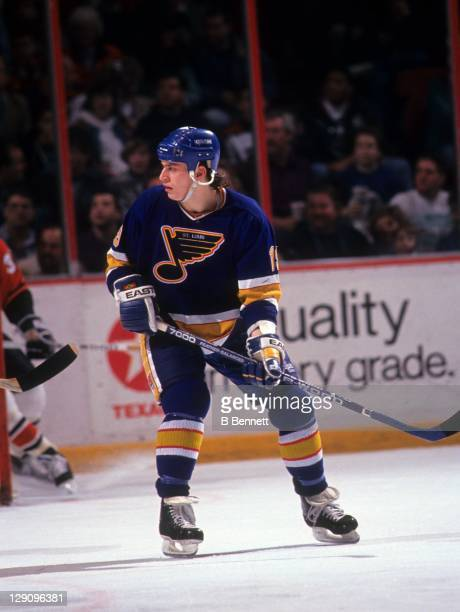 Rod Brind'Amour of the St. Louis Blues skates on the ice during an NHL game against the Philadelphia Flyers on March 21, 1991 at the Spectrum in...