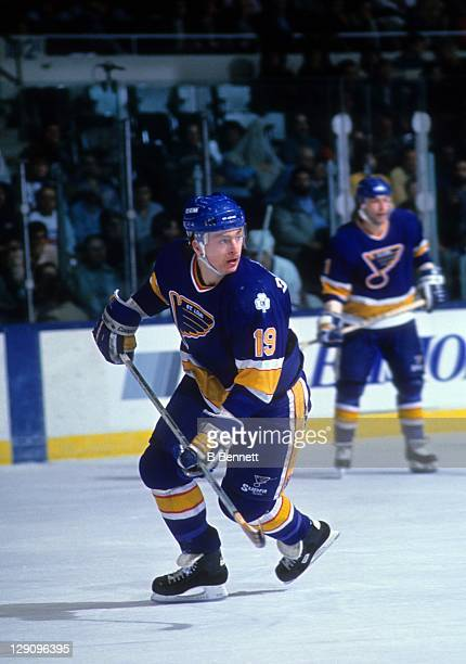 Rod Brind'Amour of the St. Louis Blues skates on the ice during an NHL game against the New York Islanders on December 28, 1989 at the Nassau...