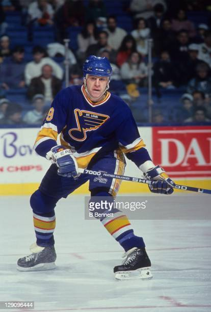 Rod Brind'Amour of the St Louis Blues skates on the ice during an NHL game against the New York Islanders on March 23 1991 at the Nassau Coliseum in...