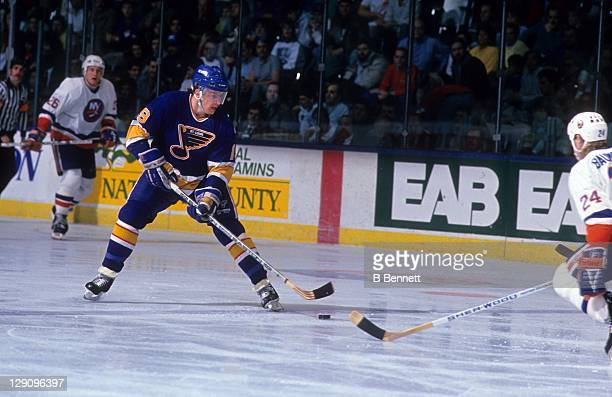 Rod Brind'Amour of the St. Louis Blues skates with the puck during an NHL game against the New York Islanders on December 28, 1989 at the Nassau...