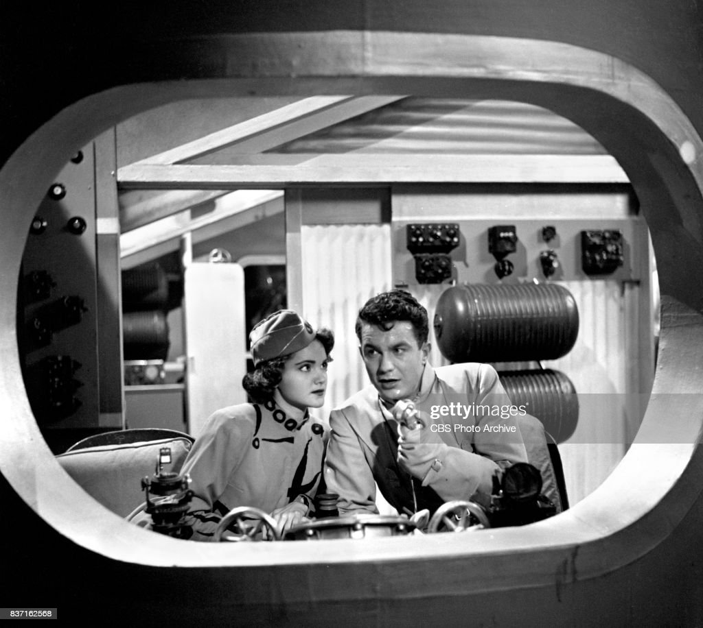 'Rod Brown of the Rocket Rangers' the CBS television science fiction series, broadcast live. Pictured from left: actress Shirley Standlee, Cliff Robertson (as Ranger Rod Brown). Premiere episode titled: Operation Decoy. New York, NY.