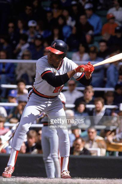 Rod Carew of the California Angels bats during a Major League Baseball game circa 19791985