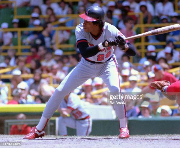 Rod Carew of the California Angels bats during a MLB game at Comiskey Park in Chicago, IL. Carew played for the California Angels from 1979-1985.