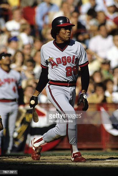 Rod Carew of the California Angels batting during the 1982 American League Playoff game against the Milwaukee Brewers on October 8, 1981 in...