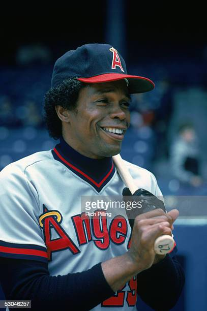 Rod Carew of the California Angels is pictured before a game at Yankee Stadium in the Bronx New York Rod Carew played for the California Angels from...