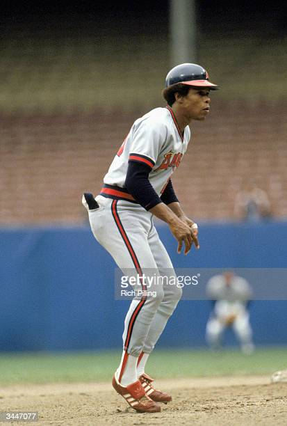 Rod Carew of the California Angels leads off base during a 1981 season game against the Indians at Cleveland Stadium in Cleveland Ohio