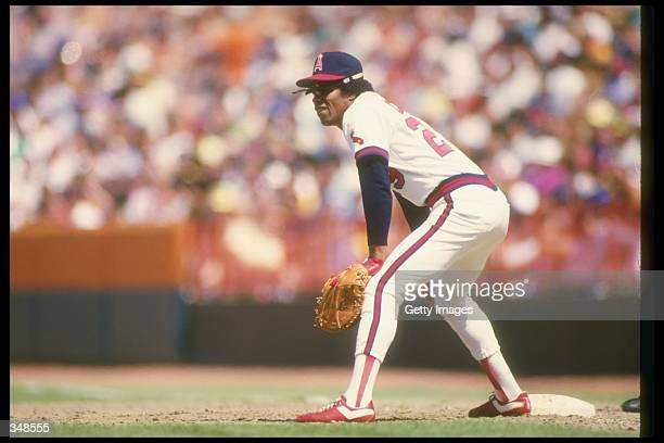 Rod Carew of the California Angels looks on during a game against the Minnesota Twins at Anaheim Stadium in Anaheim California Mandatory Credit...
