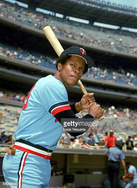 Rod Carew of the California Angels poses before a game at Yankee Stadium in the Bronx, New York. Rod Carew played for the California Angels from...