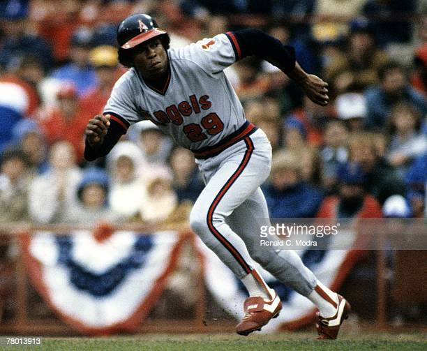 Rod Carew of the California Angels running to second base during the 1982 American League Playoff game against the Milwaukee Brewers on October 8...