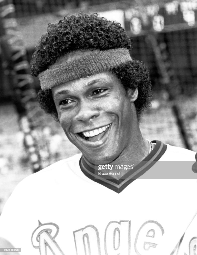 Rod Carew #29 of the California Angels smiles and wears a head band during batting practice before an MLB game against the New York Yankees on July 23, 1982 at Yankee Stadium in the Bronx, New York.