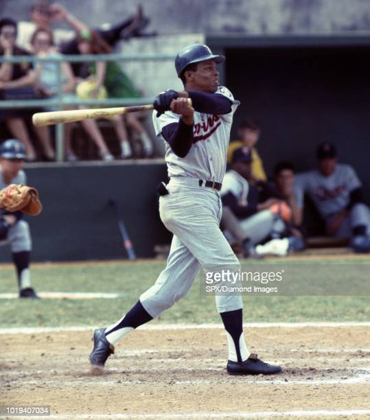 Rod Carew of the Minnesota Twins at bat during a game from his 1968 season with the Minnesota Twins Rod Carew played for 19 years with 2 different...