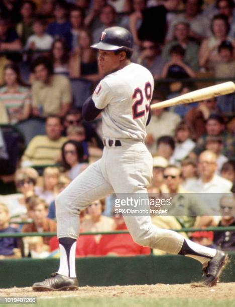Rod Carew of the Minnesota Twins at bat during a game from his 1971 season with the Minnesota Twins Rod Carew played for 19 years with 2 different...
