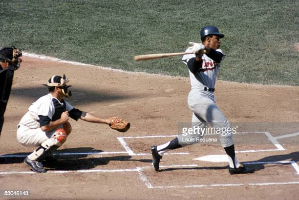 Rod Carew of the Minnesota Twins bats during an MLB game at Shea Stadium in Flushing New York Rod Carew played for the Minnesota Twins from 196778