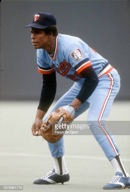 Rod Carew of the Minnesota Twins down and ready to make a play on the ball against the Kansas City Royals during an Major League Baseball game circa...