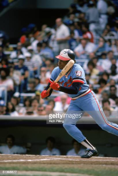 Rod Carew of the Minnesota Twins prepares to bunt during a 1978 MLB season game