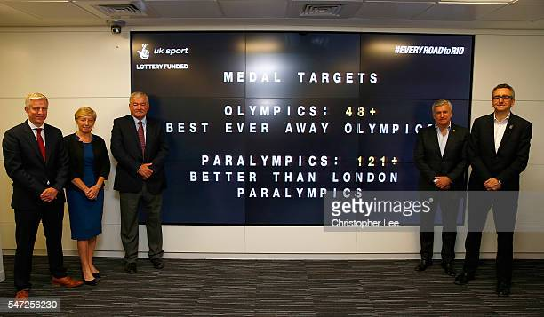 Rod Carr CBE Chair of UK Sport and Liz Nicholl CBE Chief Executive of UK Sport and Simon Timson Director of Performance for UK Sport with Bill...