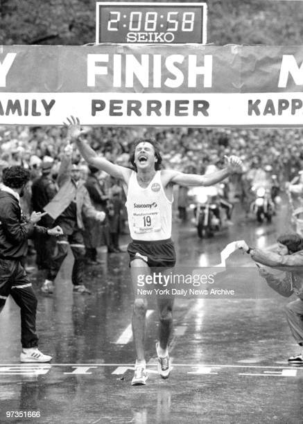 Rod Dixon at the finish line of the New York City Marathon after winning the race