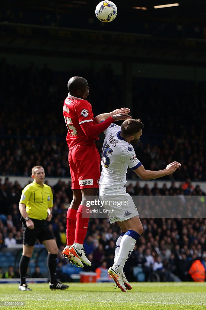 Rod Fanni of Charlton Athletic FC and Stuart Dallas of Leeds United FC compete for the ball during the Sky Bet Championship match between Leeds United and Charlton Athletic at Elland Road on April 30, 2016 in Leeds, United Kingdom.