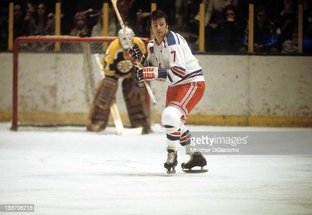 Rod Gilbert of the New York Rangers skates on the ice during an NHL game against the Boston Bruins on November 7 1973 at the Madison Square Garden in...
