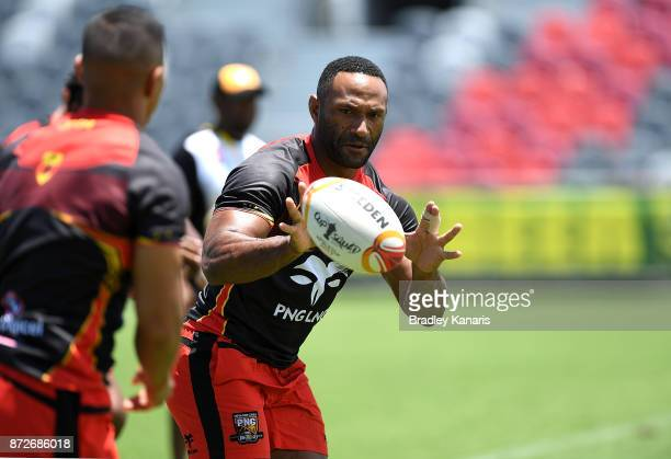 Rod Griffin catches the ball during a PNG Kumuls Rugby League World Cup captain's run on November 11 2017 in Port Moresby Papua New Guinea