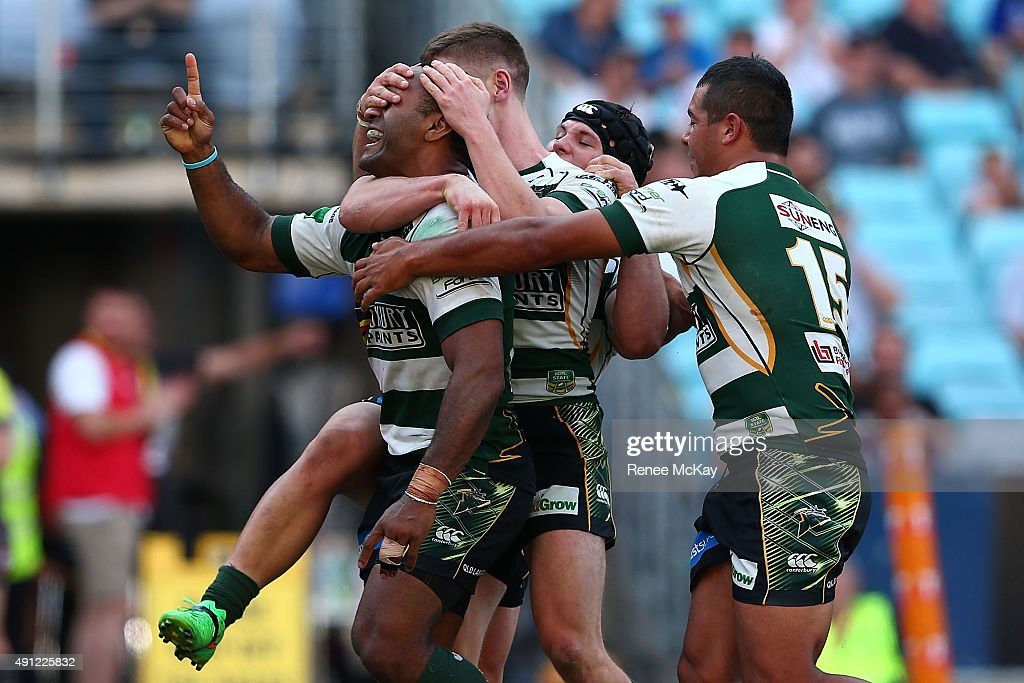 Rod Griffin of the Jets celebrates scoring a try during the 2015 State Championship Grand Final match between Ipswich Jets and the Newcastle Knights at ANZ Stadium on October 4, 2015 in Sydney, Australia.