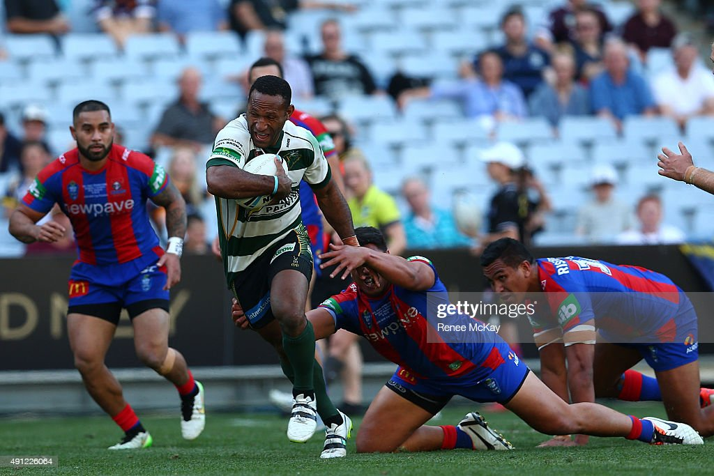 Rod Griffin of the Jets scores a try during the 2015 State Championship Grand Final match between Ipswich Jets and the Newcastle Knights at ANZ Stadium on October 4, 2015 in Sydney, Australia.